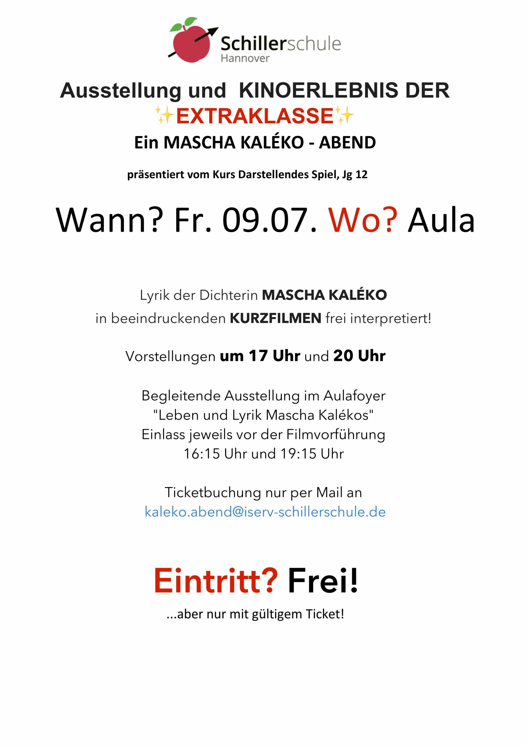 Plakatankündigung: Mascha Kaleko Abend